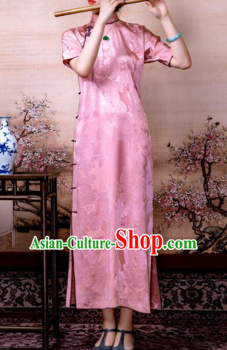 Traditional Chinese Late Qing Dynasty Deep Pink Silk Qipao Dress National Tang Suit Cheongsam Costume for Women