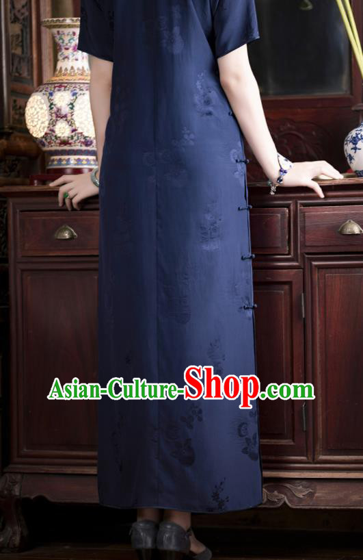 Traditional Chinese National Printing Navy Qipao Dress Tang Suit Cheongsam Costume for Women