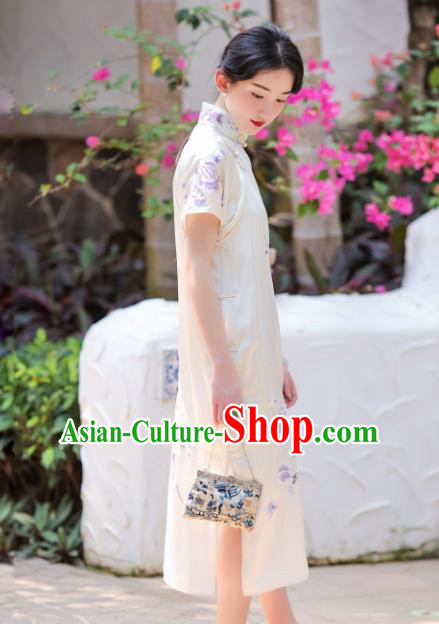 Traditional Chinese Embroidered White Silk Qipao Dress National Tang Suit Cheongsam Costume for Women