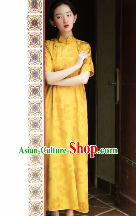 Traditional Chinese Yellow Silk Qipao Dress National Tang Suit Cheongsam Costume for Women