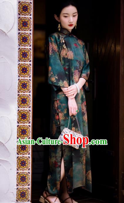 Traditional Chinese Printing Deep Green Silk Qipao Dress National Tang Suit Cheongsam Costume for Women