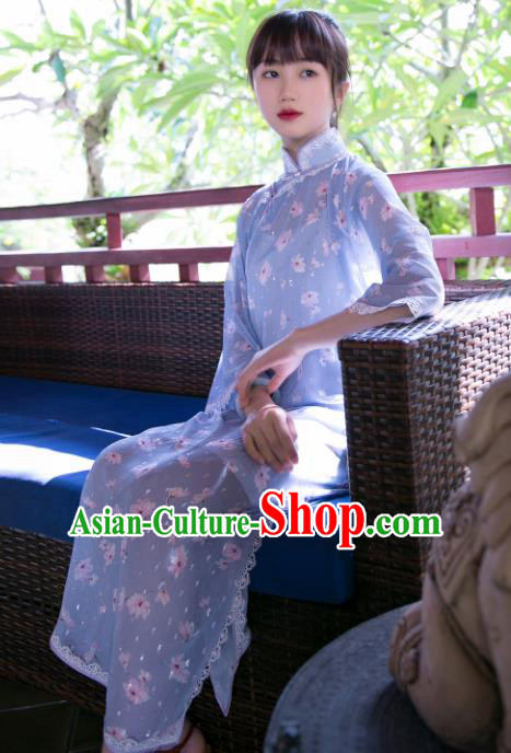 Traditional Chinese Printing Violet Qipao Dress National Tang Suit Cheongsam Costume for Women
