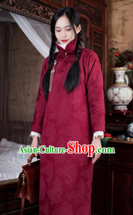 Traditional Chinese Winter Wine Red Qipao Dress National Tang Suit Cheongsam Costume for Women