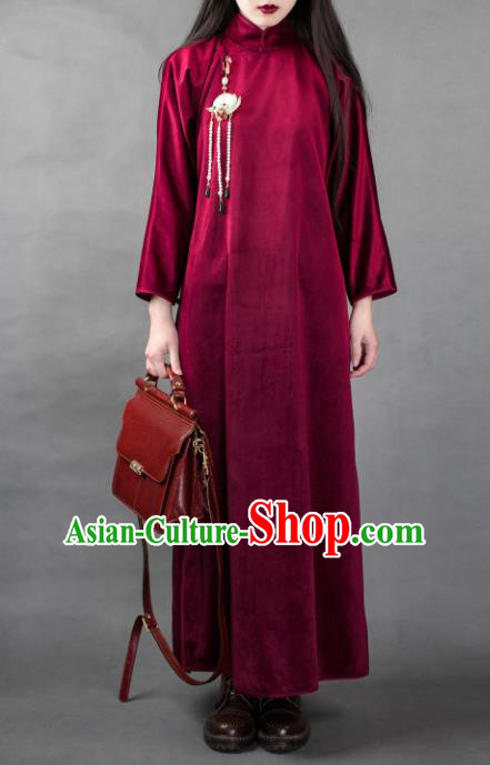 Traditional Chinese Winter Wine Red Corduroy Qipao Dress National Tang Suit Cheongsam Costume for Women
