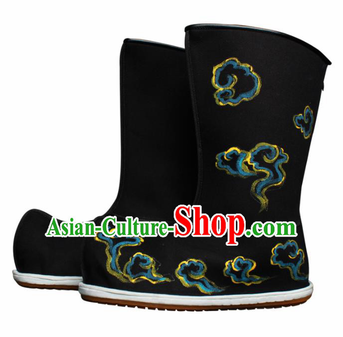 Chinese Traditional Beijing Opera Takefu Boots Ancient Wealth God Shoes for Men