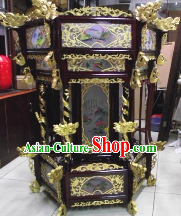 Chinese Traditional Handmade Carving Golden Dragons Wood Palace Lantern Asian New Year Lantern Ancient Ceiling Lamp