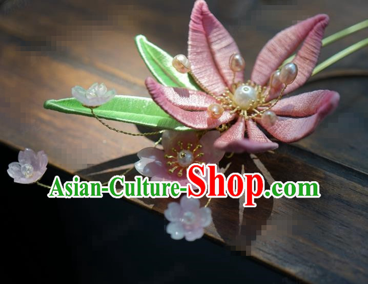 Traditional Chinese Handmade Court Pink Flower Hairpins Hair Accessories Ancient Hanfu Hair Clip for Women