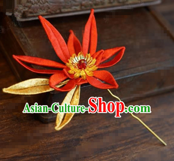Traditional Chinese Handmade Court Red Flower Hairpins Hair Accessories Ancient Hanfu Hair Clip for Women