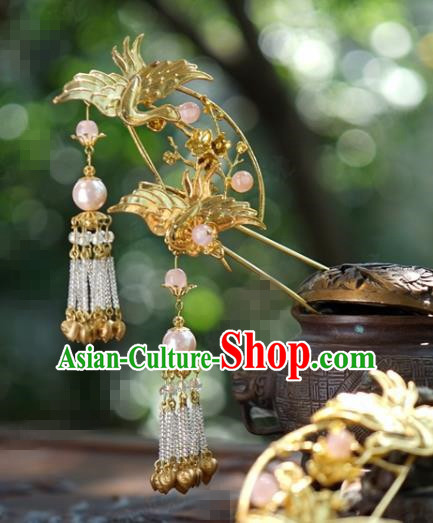 Traditional Chinese Handmade Court Golden Crane Tassel Hairpins Hair Accessories Ancient Hanfu Hair Clip for Women