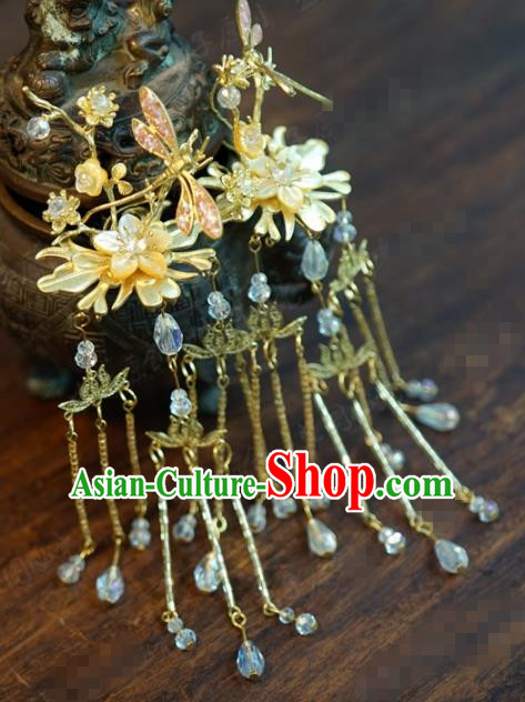Traditional Chinese Ancient Queen Dragonfly Tassel Hair Clip Handmade Hanfu Court Hairpins Hair Accessories for Women