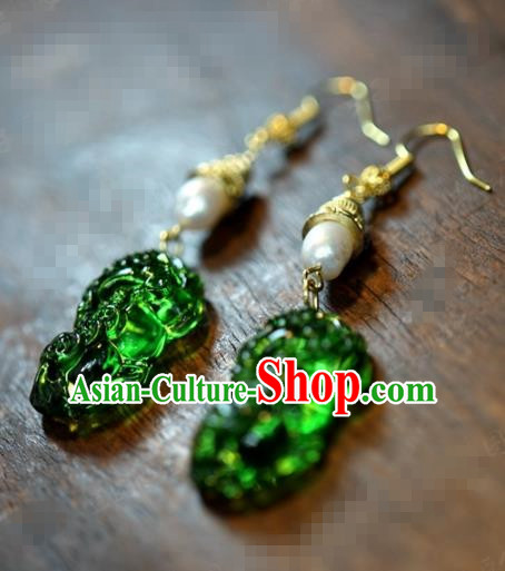 Traditional Chinese Handmade Court Coloured Glaze Ear Accessories Ancient Princess Pearl Earrings for Women