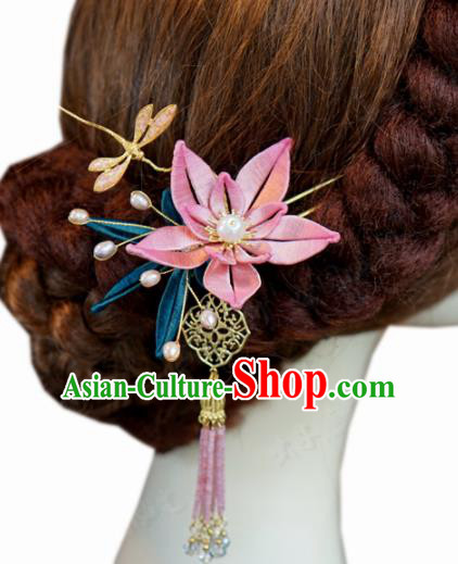 Traditional Chinese Ancient Queen Dragonfly Lotus Hair Clips Handmade Hanfu Court Hairpins Hair Accessories for Women