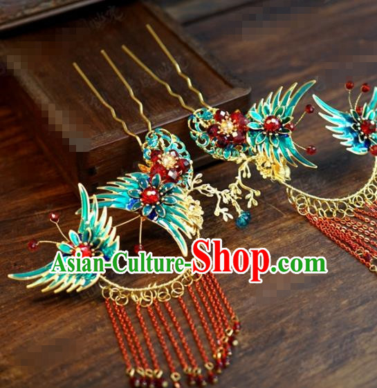 Traditional Chinese Ancient Queen Cloisonne Butterfly Hair Clips Handmade Hanfu Court Hairpins Hair Accessories for Women