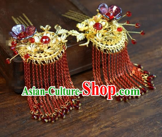 Traditional Chinese Ancient Queen Red Tassel Hair Clip Handmade Hanfu Court Hairpins Hair Accessories for Women