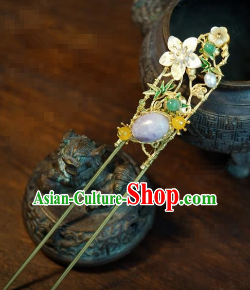 Traditional Chinese Handmade Court Plum Bamboo Hairpins Hair Accessories Ancient Queen Hanfu Hair Clip for Women