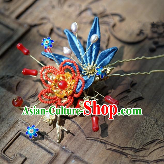 Traditional Chinese Handmade Court Hairpins Hair Accessories Ancient Queen Hanfu Blue Flower Hair Clip for Women