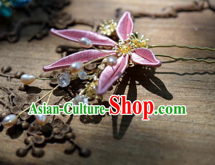 Traditional Chinese Handmade Court Hairpins Hair Accessories Ancient Queen Hanfu Pink Flower Hair Clip for Women