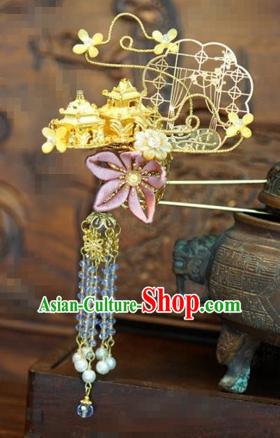 Traditional Chinese Handmade Court Beads Tassel Hairpins Hair Accessories Ancient Queen Hanfu Hair Clip for Women