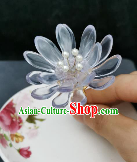 Traditional Chinese Ancient Hanfu White Lotus Hair Clip Court Queen Hairpins Handmade Hair Accessories for Women