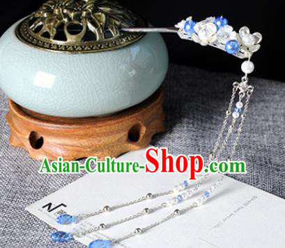 Traditional Chinese Ancient Hanfu Plum Tassel Hair Clip Court Queen Hairpins Handmade Hair Accessories for Women