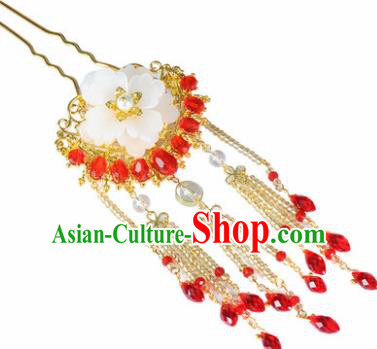 Traditional Chinese Ancient Hanfu Flower Tassel Hair Clip Court Queen Hairpins Handmade Hair Accessories for Women