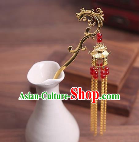 Traditional Chinese Hanfu Phoenix Tassel Hair Clip Ancient Court Queen Hairpins Handmade Hair Accessories for Women