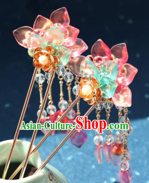 Traditional Chinese Hanfu Pink Lotus Tassel Hair Clip Ancient Court Princess Hairpins Hair Accessories for Kids