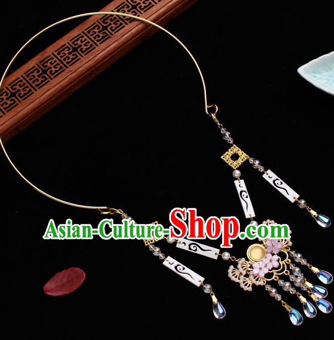Traditional Chinese Handmade Court Golden Necklace Jewelry Accessories Ancient Princess Pine Necklet for Women