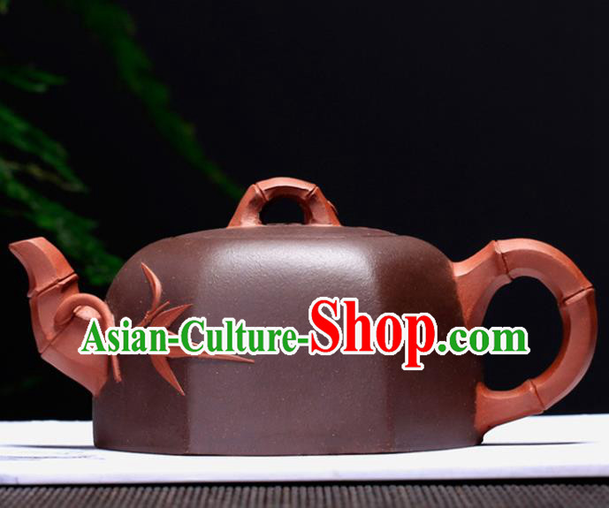 Traditional Chinese Handmade Carving Bamboo Zisha Teapot Dark Red Clay Pottery Teapot