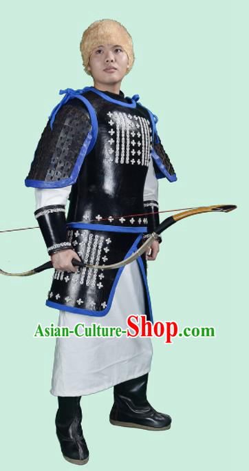 Chinese Ancient Cosplay General Armor and Helmet Traditional Yuan Dynasty Swordsman Costumes Complete Set for Men