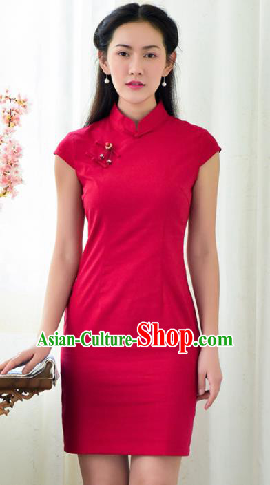 Chinese Traditional Classical Rosy Cheongsam National Tang Suit Qipao Dress for Women