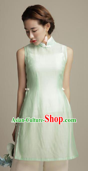 Chinese Traditional Tang Suit Green Silk Blouse Classical National Shirt Upper Outer Garment for Women