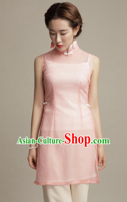 Chinese Traditional Tang Suit Pink Silk Blouse Classical National Shirt Upper Outer Garment for Women