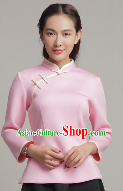 Chinese Traditional Tang Suit Pink Blouse Classical National Shirt Upper Outer Garment for Women