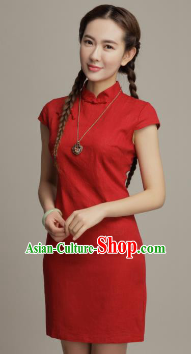 Chinese Traditional Classical Red Cheongsam National Tang Suit Qipao Dress for Women