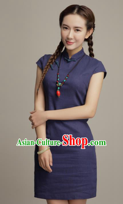 Chinese Traditional Classical Navy Cheongsam National Tang Suit Qipao Dress for Women