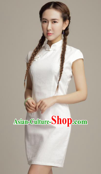 Chinese Traditional Classical White Cheongsam National Tang Suit Qipao Dress for Women