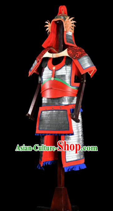 Chinese Ancient Drama Soldier Armor and Helmet Traditional Song Dynasty General Costumes Complete Set for Men