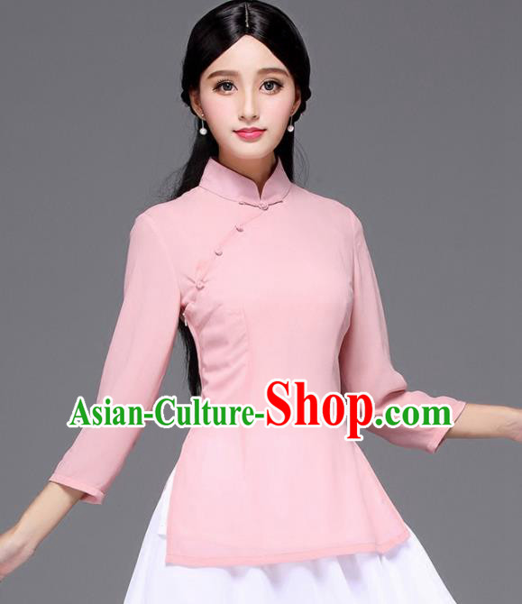 Chinese Traditional National Tang Suit Pink Blouse Classical Shirt Upper Outer Garment for Women