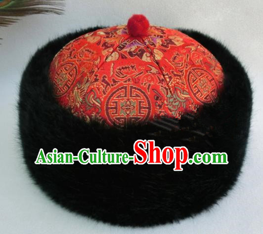 Chinese Ancient Drama Emperor Winter Red Hat Traditional Qing Dynasty Royal Highness Headwear for Men