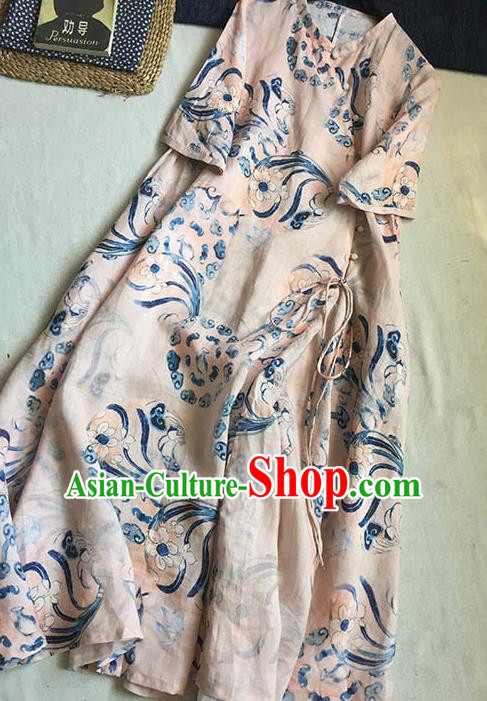 Chinese Traditional Tang Suit Printing Orchid Light Pink Ramie Cheongsam National Costume Qipao Dress for Women