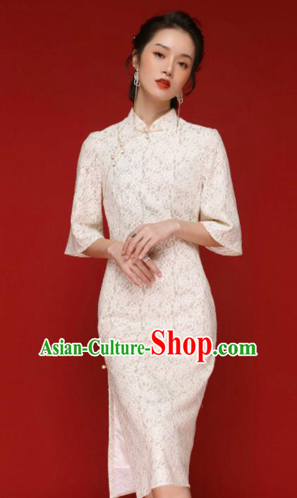 Chinese Traditional Tang Suit White Lace Cheongsam National Costume Qipao Dress for Women