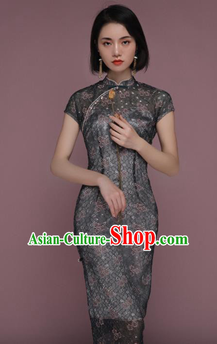 Chinese Traditional Tang Suit Dark Green Cheongsam National Costume Qipao Dress for Women