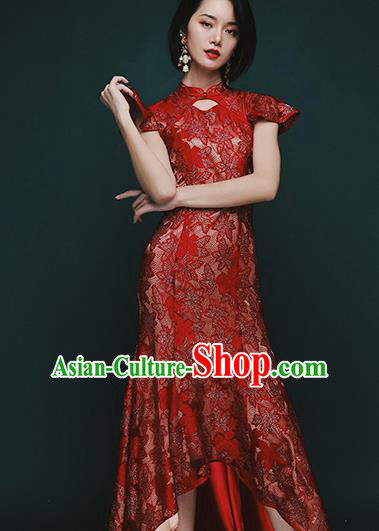Chinese Traditional Tang Suit Red Lace Fishtail Cheongsam National Costume Qipao Dress for Women