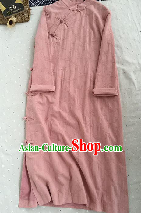 Chinese Traditional Tang Suit Pink Linen Cheongsam National Costume Qipao Dress for Women