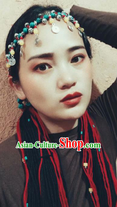 Chinese Traditional Zang Ethnic Blue Beads Tassel Hair Clasp Hair Accessories Tibetan Nationality Headwear for Women