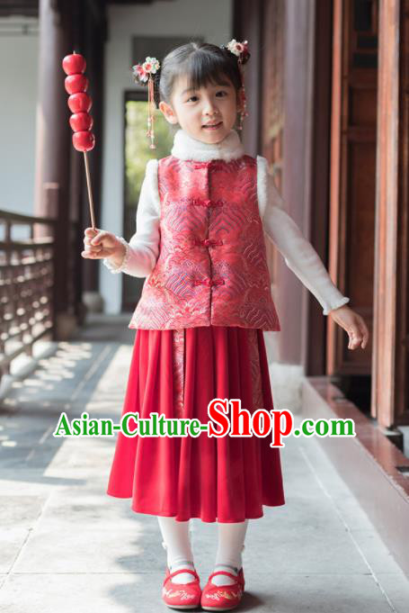 Chinese National Girls Red Vest Costume Traditional New Year Tang Suit Upper Outer Garment for Kids