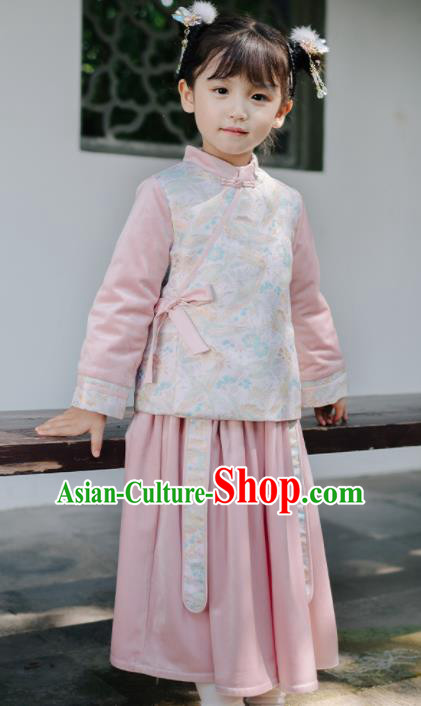 Chinese National Girls Cheongsam Outfits Costume Traditional New Year Qipao Dress for Kids