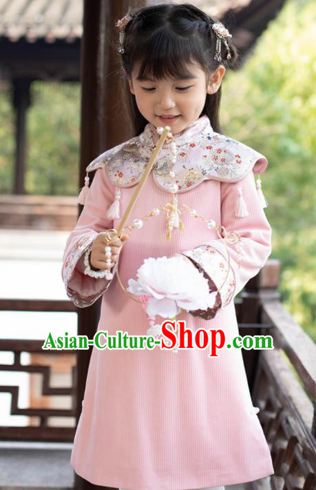 Chinese National Girls Pink Cheongsam Costume Traditional New Year Qipao Dress for Kids