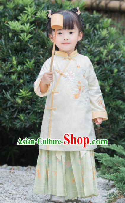 Chinese National Girls Beige Cheongsam Costume Traditional New Year Qipao Dress for Kids